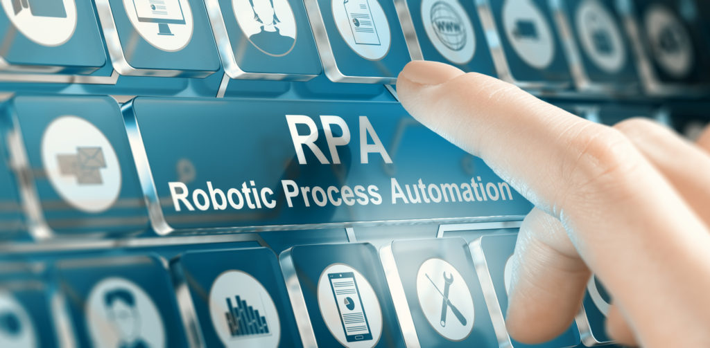 Woman using a RPA Robotic Process Automation system by pressing a button. Composite image between a hand photography and a 3D background.
