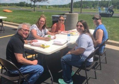 Staff enjoying food truck